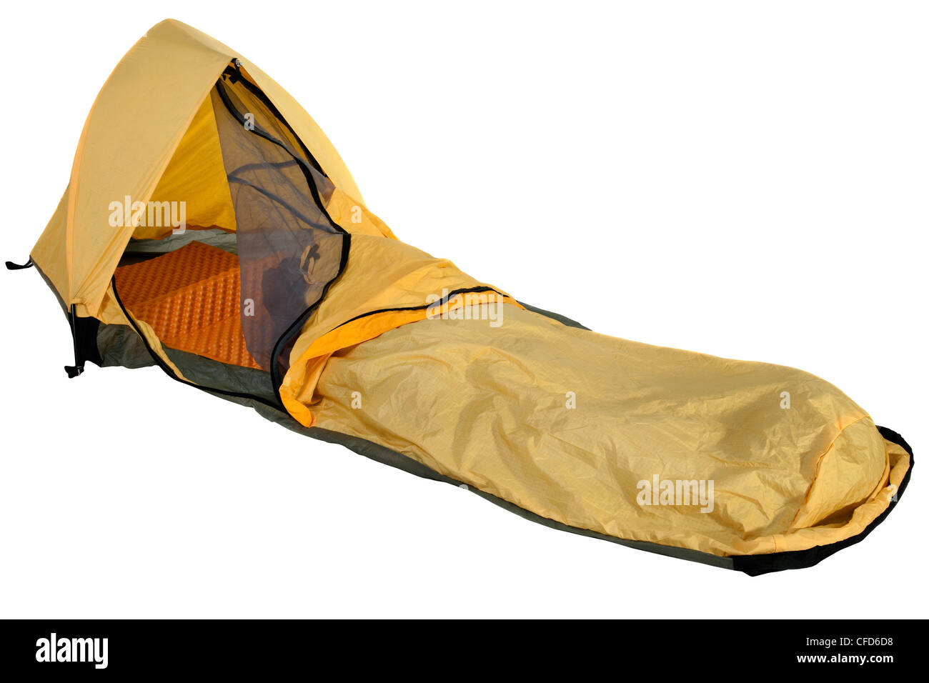 yellow bivy sack for minimalist solo expedition camping