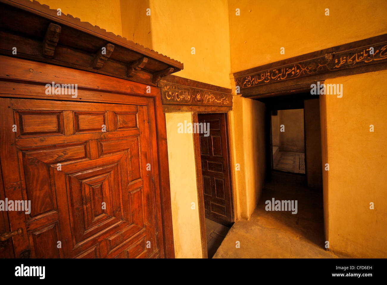 Egypt old Arabic House Cairo Bait el-harawi window door yard architecture - Stock Image