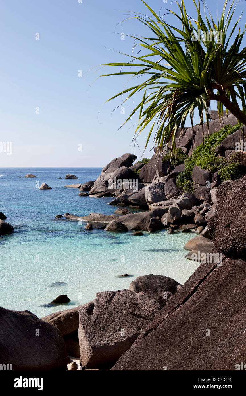 View onto the sea from the foot of Sail Rock, Similan Islands, Andaman Sea, Thailand - Stock Image