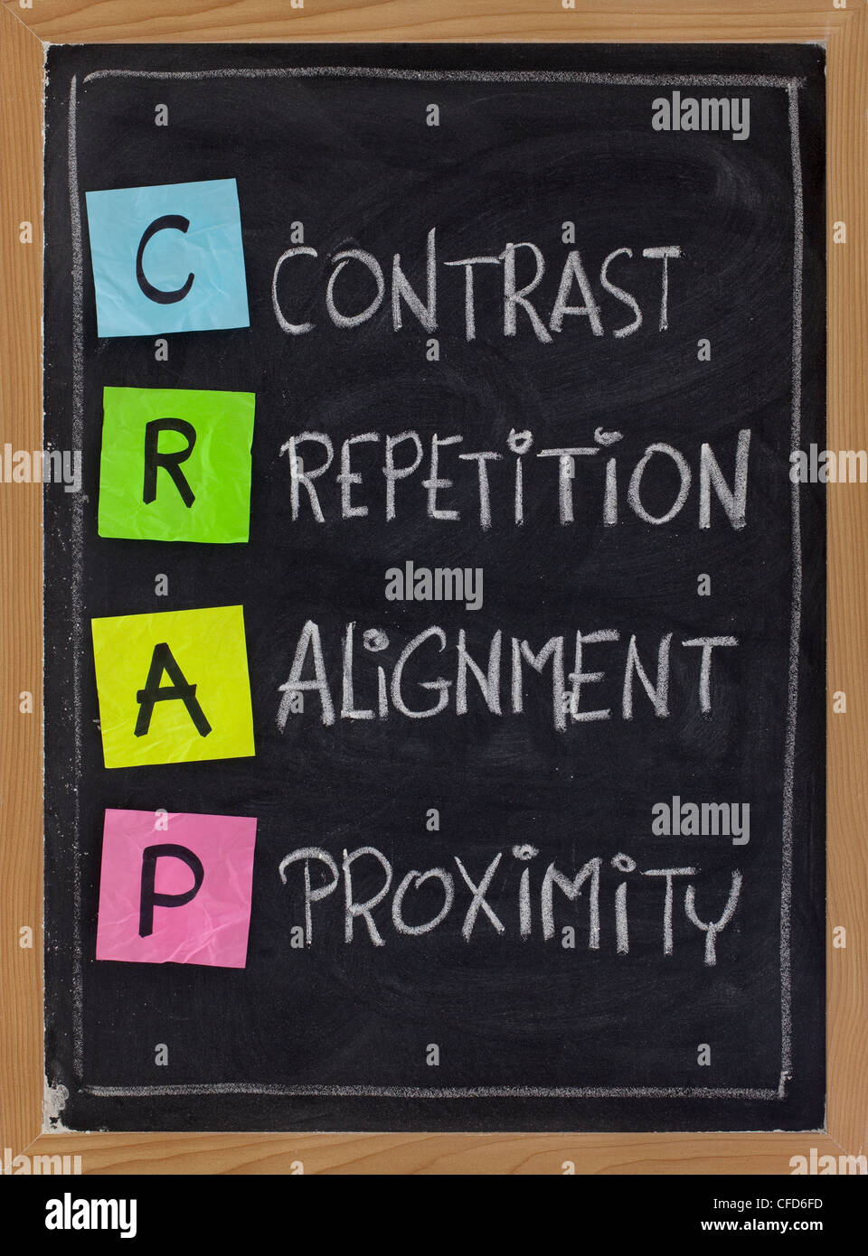 CRAP - contrast, repetition, alignment and proximity, the four principles of sound design - Stock Image