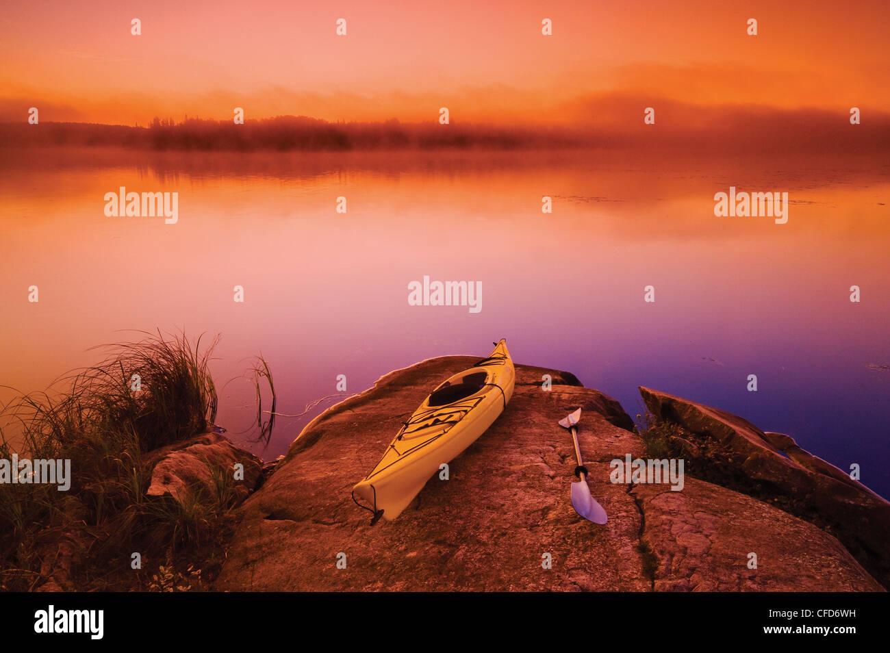 Kayak, Bunny Lake, near Sioux Narrows, Northwestern Ontario, Canada - Stock Image