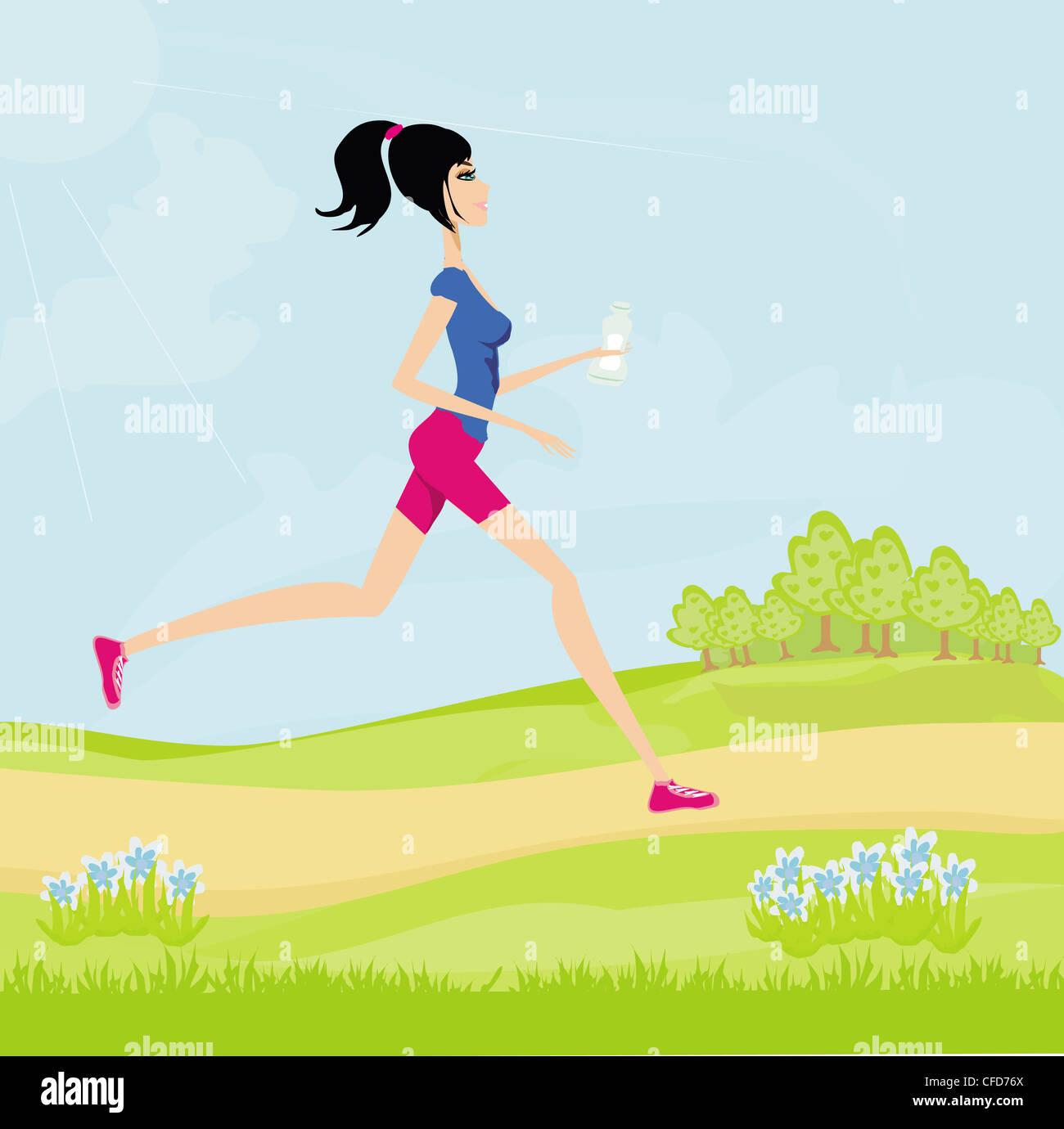 Jogging girl in summer - Stock Image