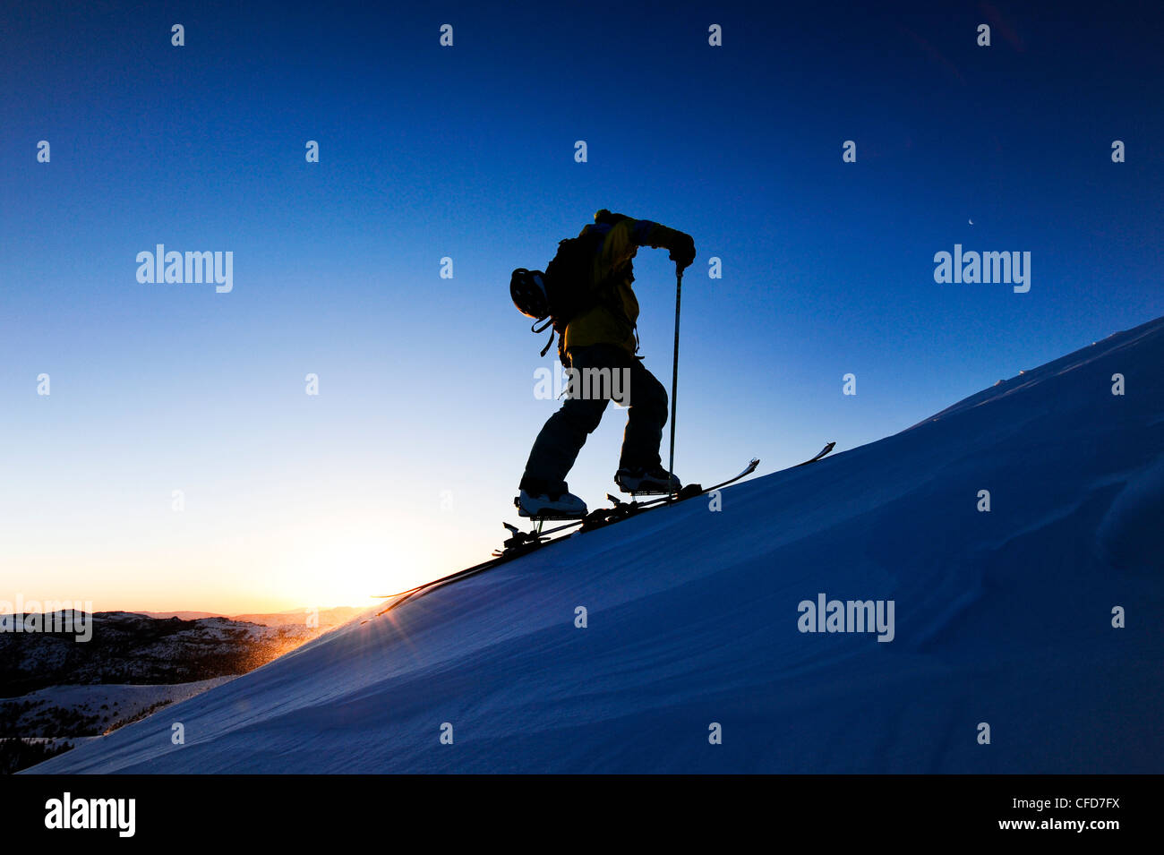 A silhouette of a skier skinning up a snow covered slope at sunrise in the Sierra Nevada near Lake Tahoe, California. - Stock Image
