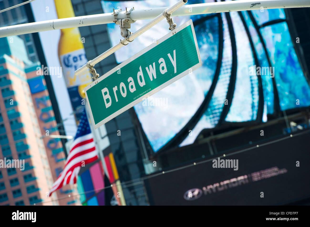 Broadway streetsign at Times Square, Manhattan, New York, USA - Stock Image