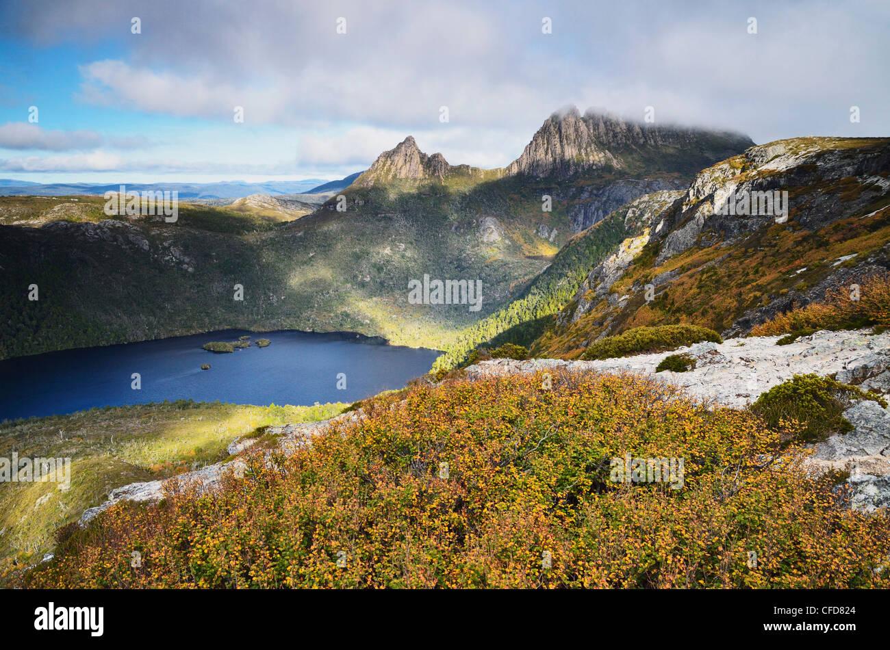 Cradle Mountain and Dove Lake, with deciduous beech (Fagus), Cradle Mountain-Lake St. Clair National Park, Tasmania, - Stock Image