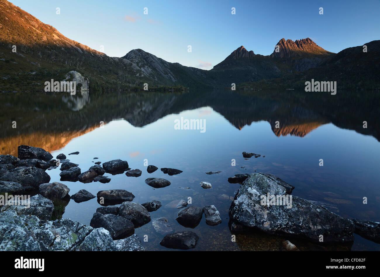 Cradle Mountain and Dove Lake, Cradle Mountain-Lake St. Clair National Park, UNESCO World Heritage Site, Tasmania, - Stock Image