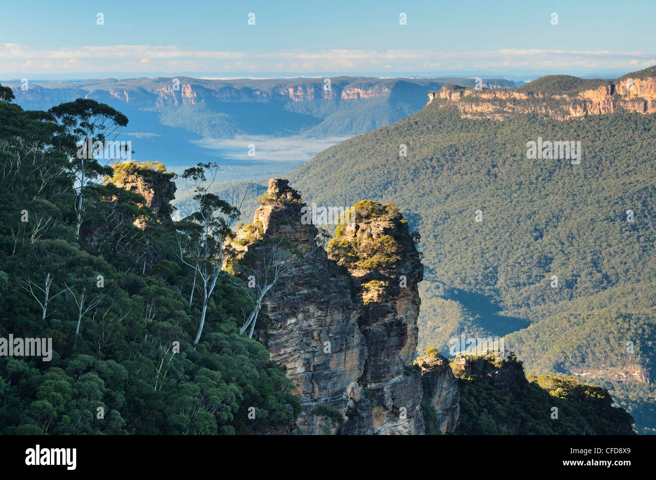 The,Sisters and Jamison Valley, Blue Mountains, Blue Mountains National Park, New South Wales, Australia - Stock Image