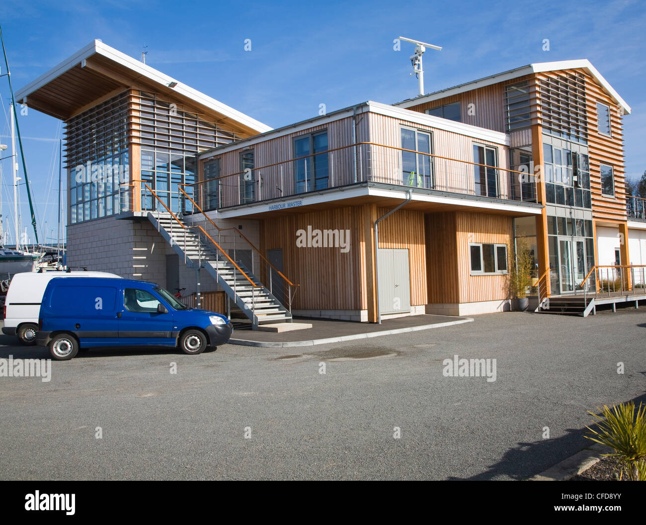 Offices shop building Levington marina, Suffolk, England Stock Photo ...