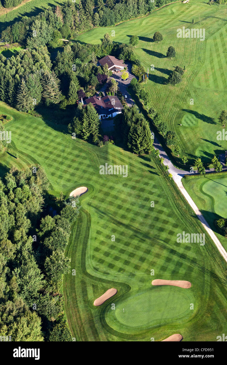 Aerial view of golf course Hillesheim, Eifel, Rhineland Palatinate, Germany, Europe - Stock Image