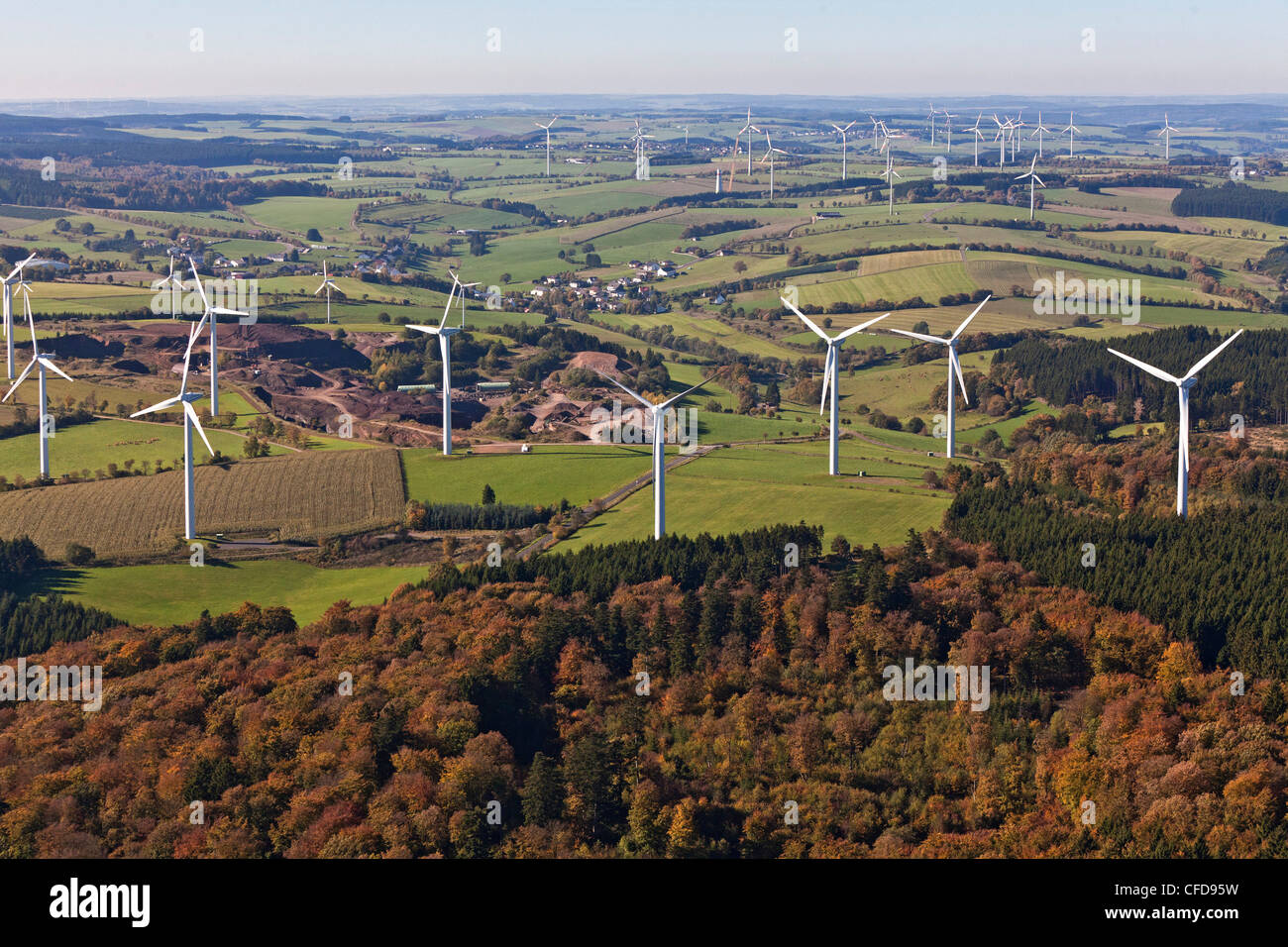 Aerial view of wind wheels at wind turbine park Ormont, Eifel, Rhineland Palatinate, Germany, Europe - Stock Image