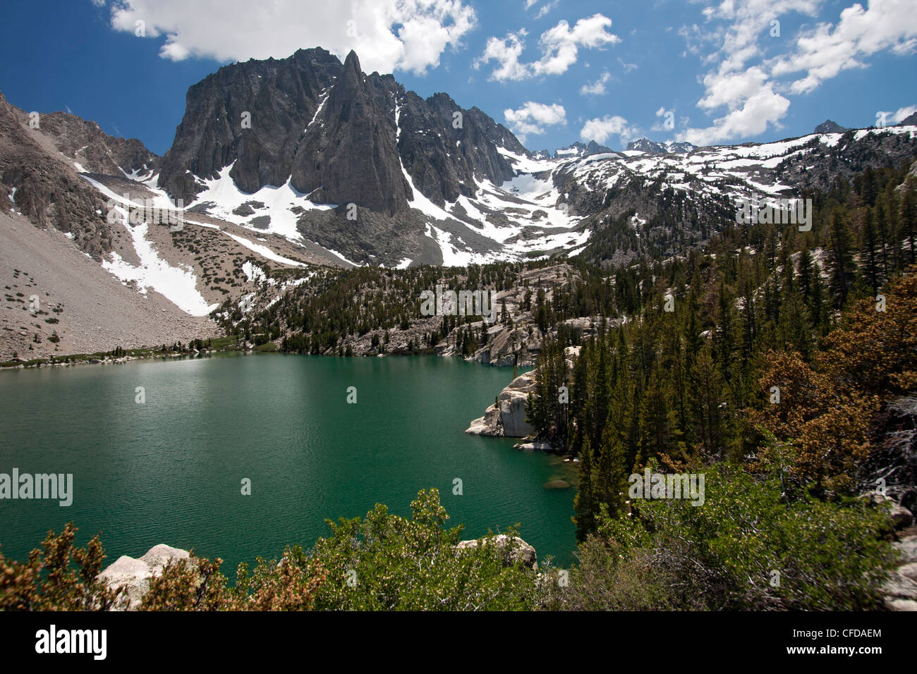 Temple Crag and Fifth Lake from the Big Pine Lakes Trail in the John Muir Wilderness, Sierra Mountain Range, California, - Stock Image