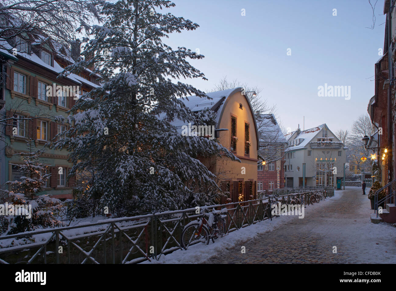 Fischerau and Olmuhle on the Insel, Freiburg, Evening, Snow, Black Forest, Baden Wuerttemberg, Germany, Europe - Stock Image