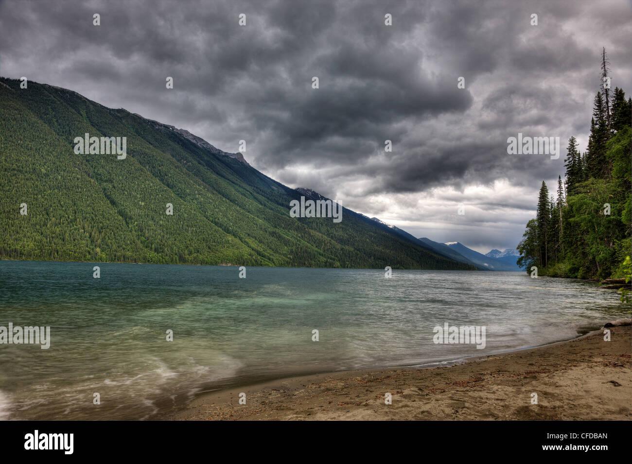 Storm over Isaac Lake in Bowron Lake Park British Columbia, Canada Stock Photo