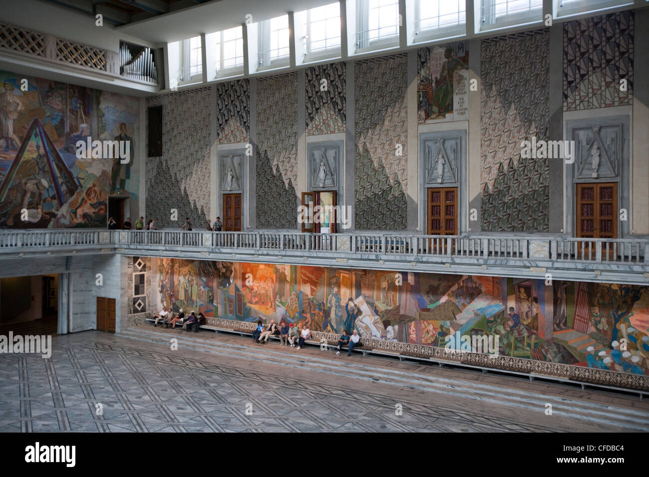 Interior view of Oslo Radhus, city hall with large mural paintings, Oslo, Oslo, Norway Stock Photo
