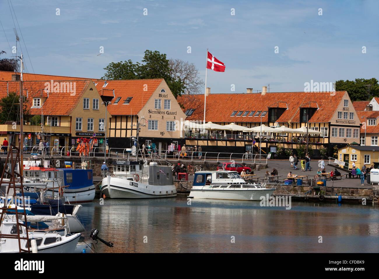 Harbour and Hotel Siemsens Gaard, Svaneke, Bornholm, Denmark - Stock Image