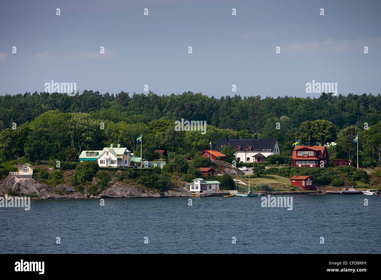 Houses in the Stockholm archipelago, near Stockholm, Stockholm, Sweden Stock Photo