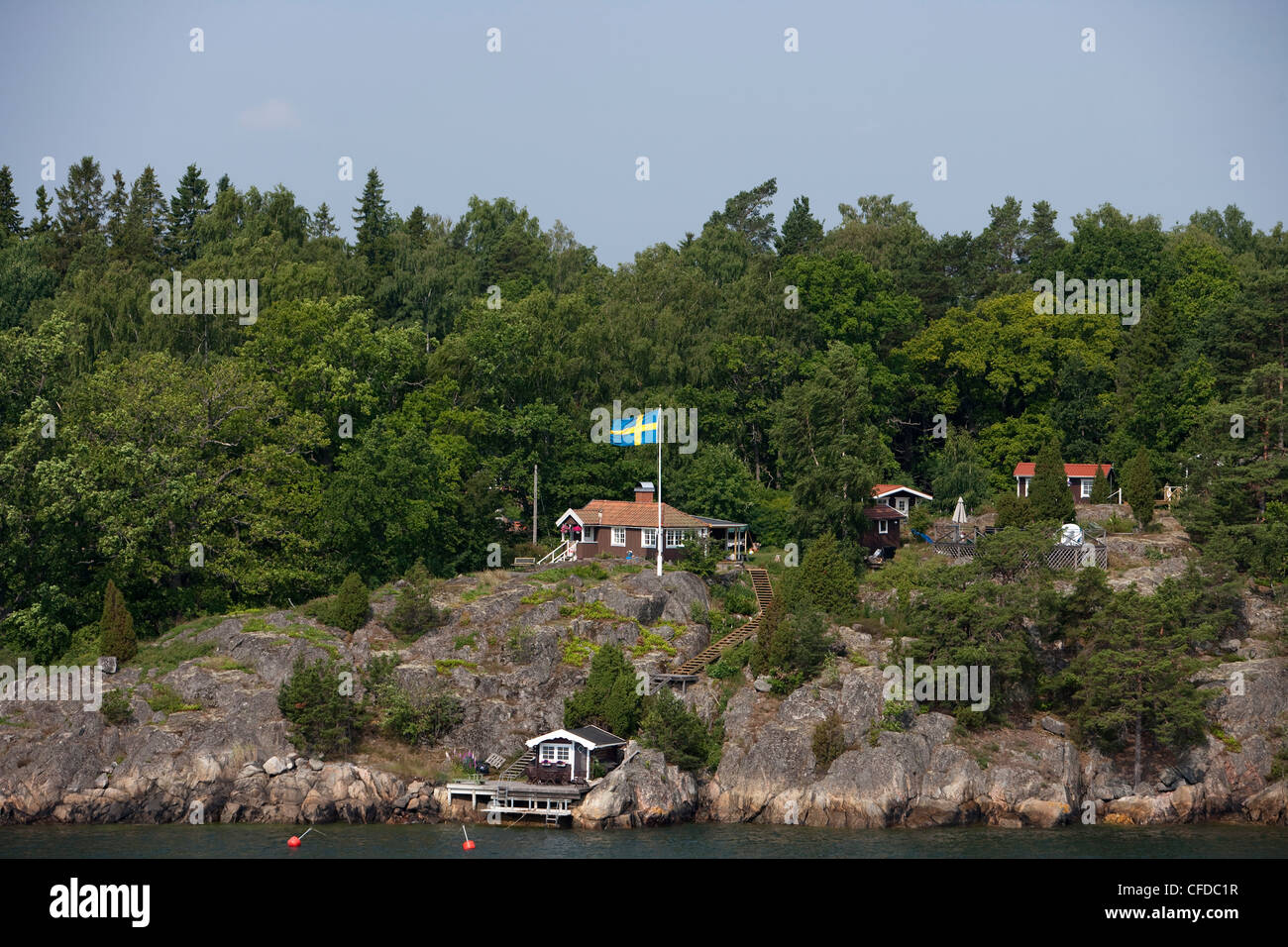 Idyllic house in the Stockholm archipelago, near Stockholm, Sweden - Stock Image