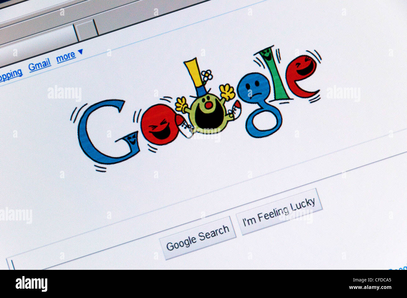 The Google search engine web site front page celebrating the 76th birthday of Roger Hargreaves, the creator of Mr Stock Photo