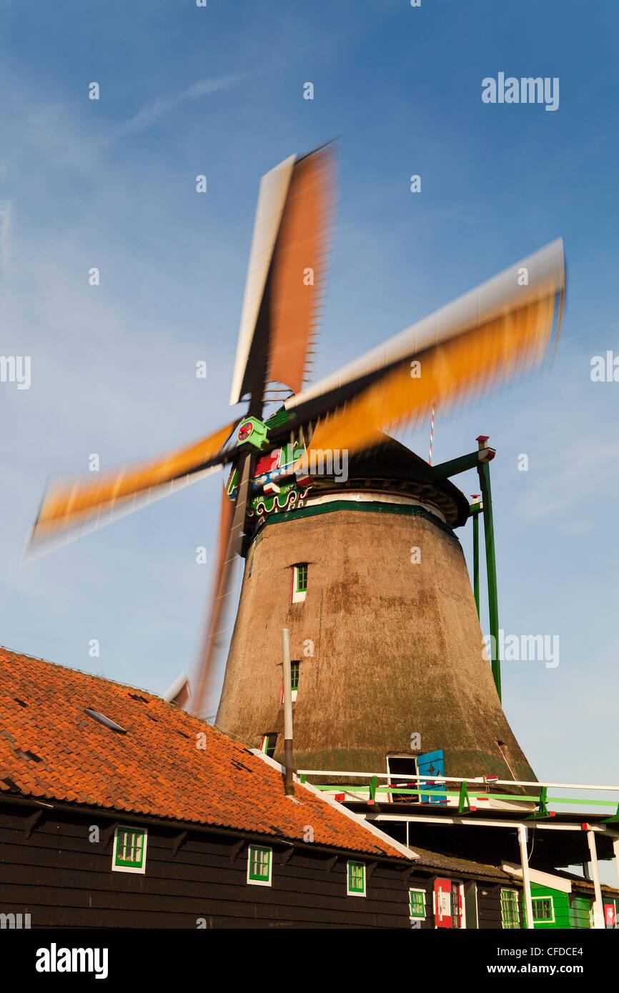 Windmills at Zaanse Schans, Zaandam, Noord Holland, Holland, Europe - Stock Image
