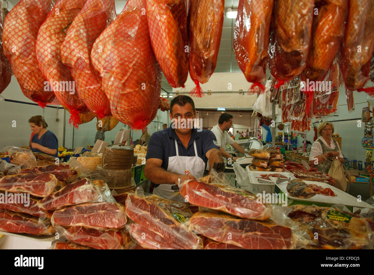 Butchers stand, weekly market, Arta, town, Mallorca, Balearic Islands, Spain, Europe - Stock Image