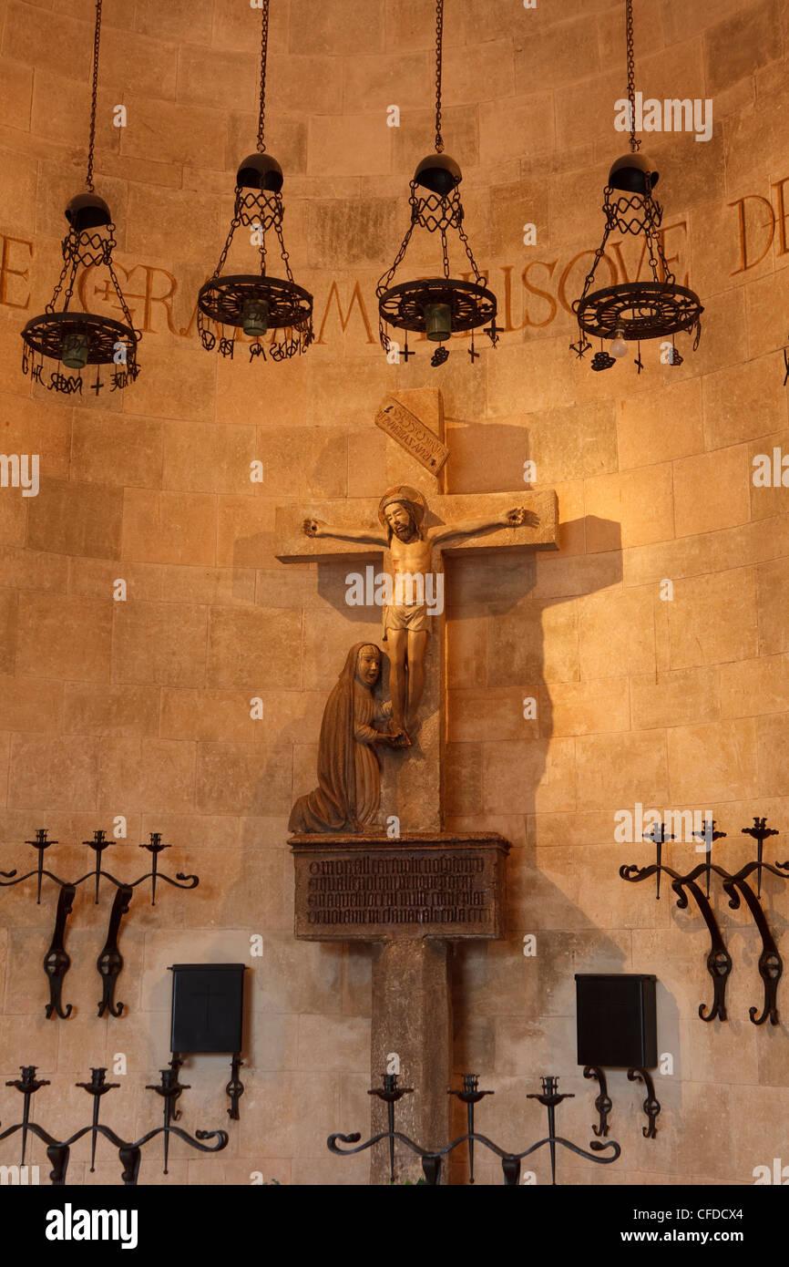 Chapell, El Calvari, Calvary, Via Crucis, stair with 365 steps, Pollenca, Mallorca, Balearic Islands, Spain, Europe - Stock Image