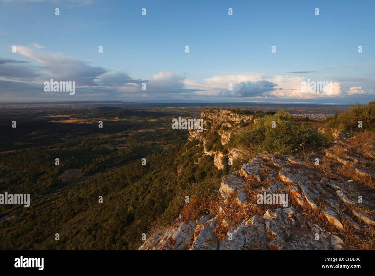 View from Puig de Randa, mountain with monastries, near Llucmayor, plain Es Pla, Mallorca, Balearic Islands, Spain, - Stock Image