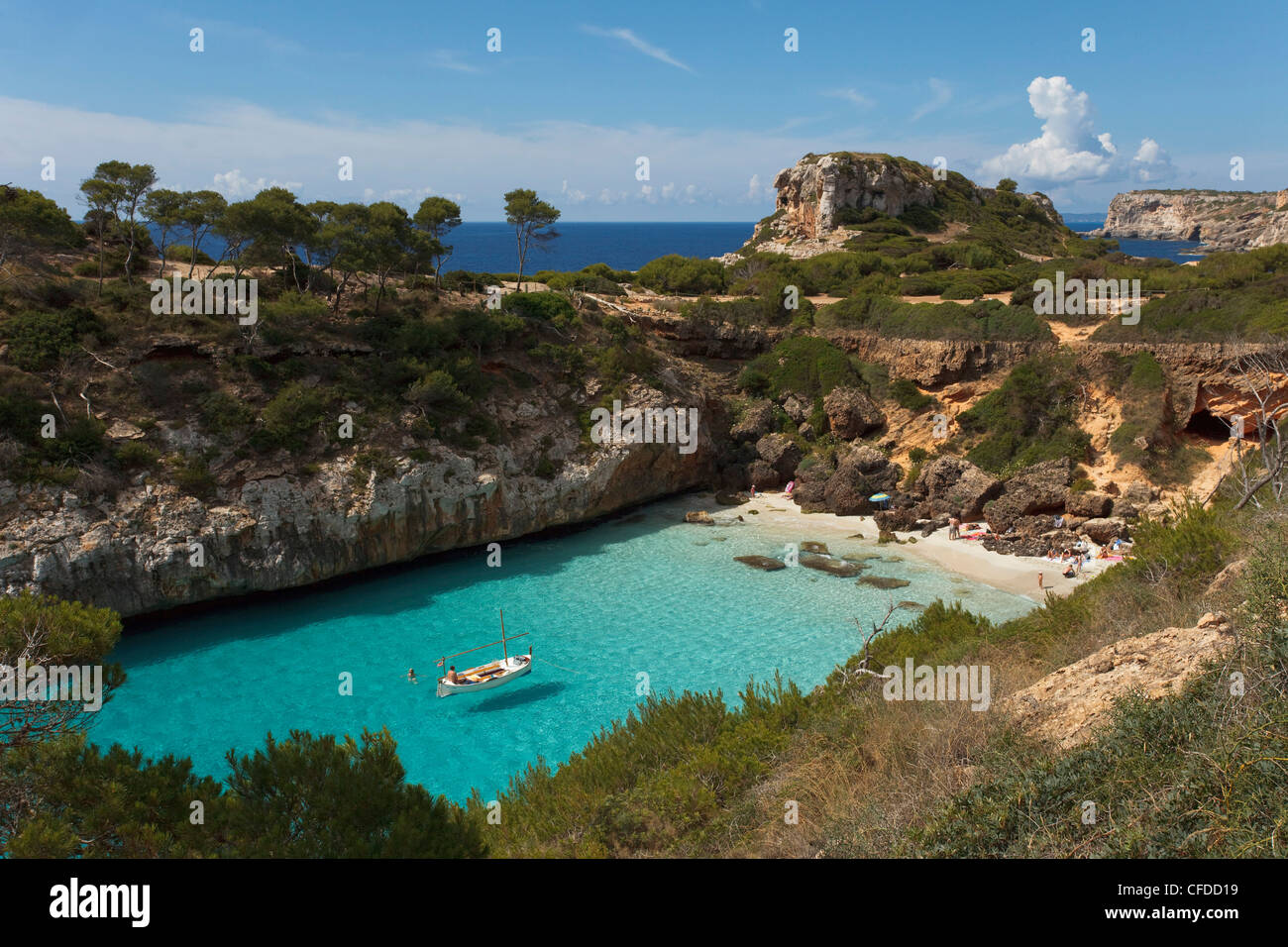 Calo  d es Moro, nearby Cala S Amonia, near Santanyi, Mallorca, Balearic Islands, Spain, Europe - Stock Image