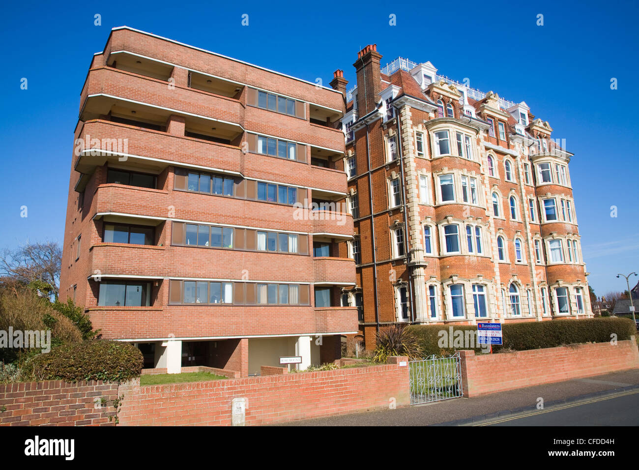 Architectural contrast between new and old buildings, Hamilton Gardens, Felixstowe, Suffolk, England - Stock Image
