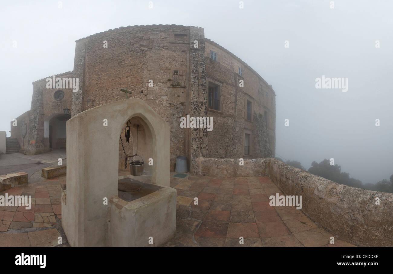 Ermita de Sant Salvator, monastry, Puig de Sant Salvator, mountain with monastry, near Felanitx, Mallorca, Balearic - Stock Image