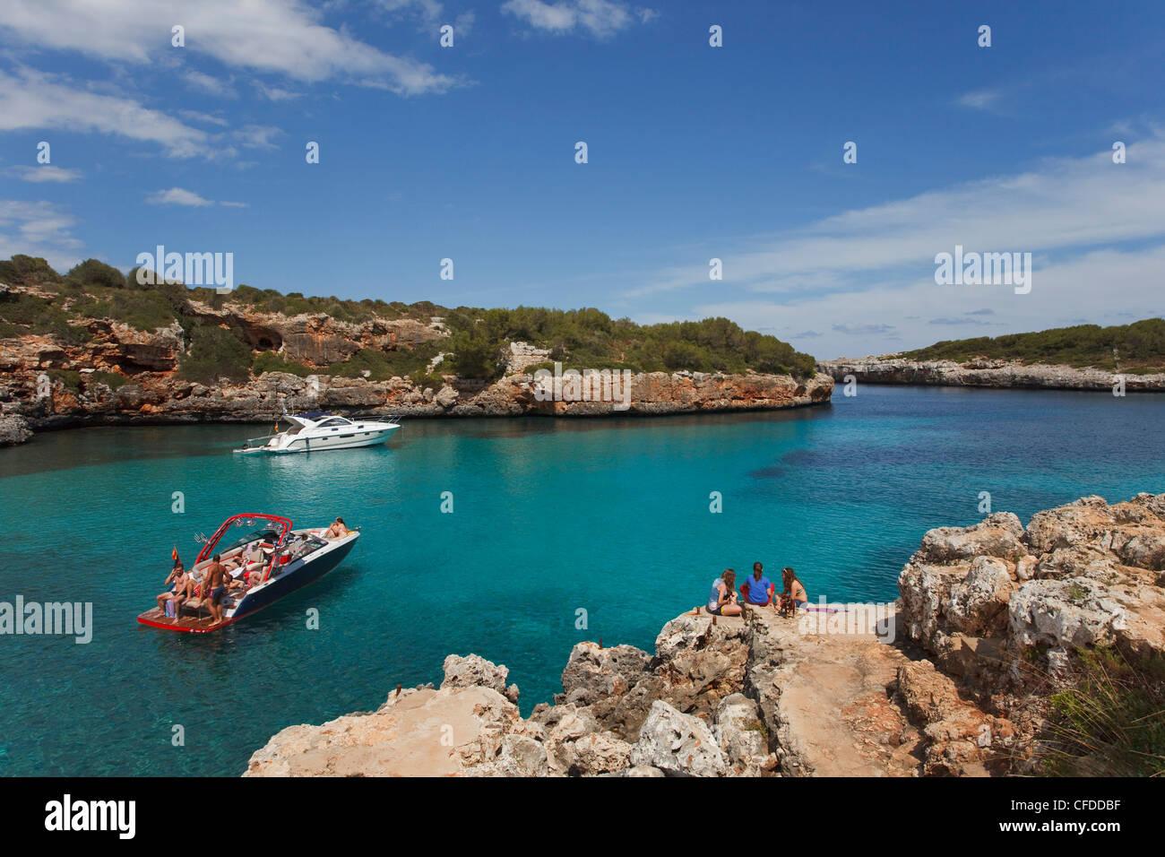 Cala Sa Nau, bay, near Cala dOr, Mallorca, Balearic Islands, Spain, Europe - Stock Image