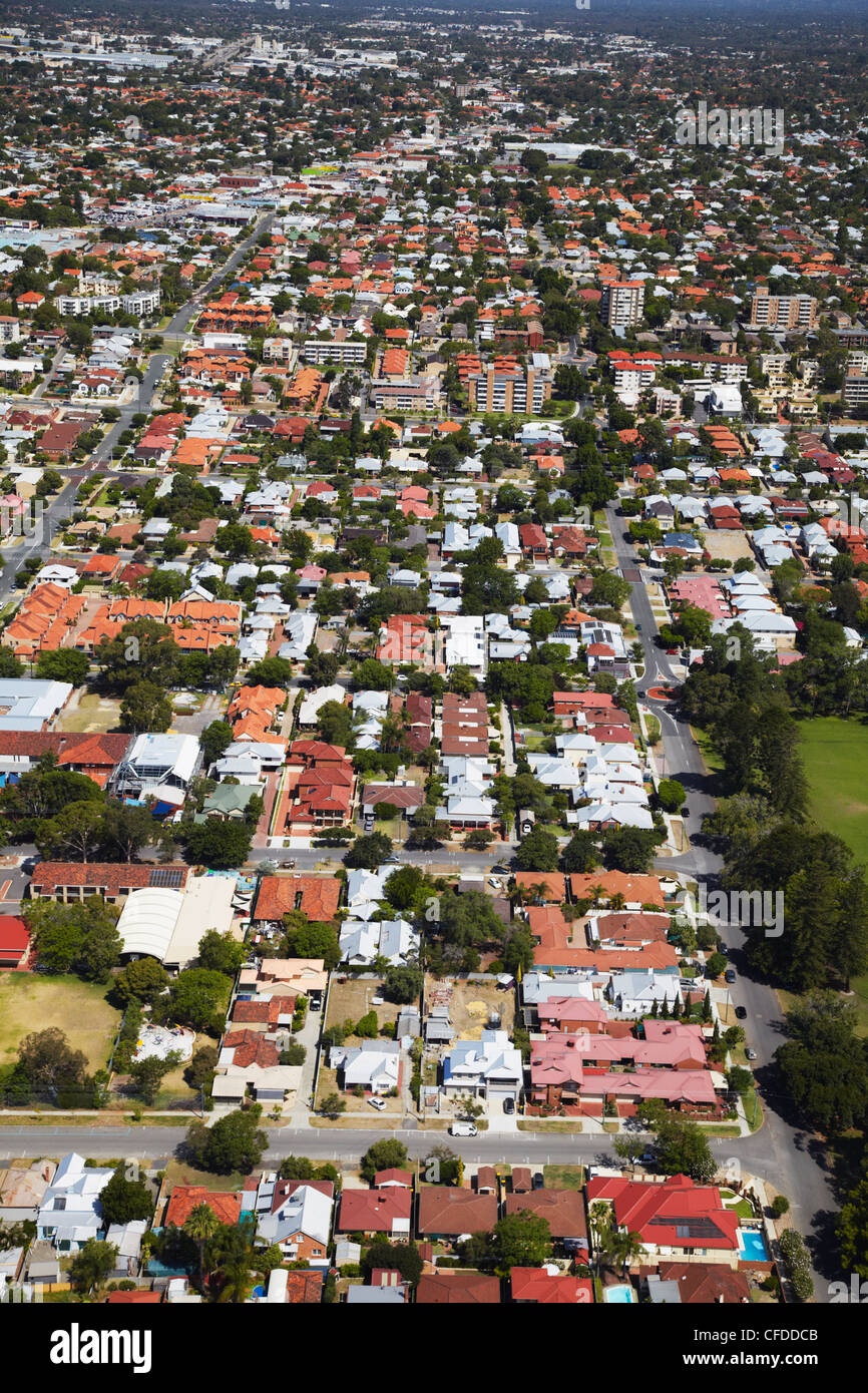 Aerial view of suburbs, Perth, Western Australia, Australia, Pacific - Stock Image