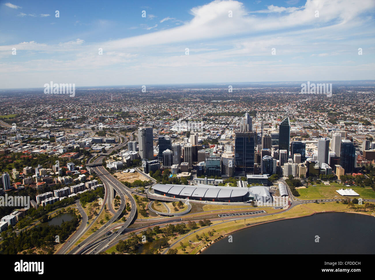 Aerial view of downtown Perth, Western Australia, Australia, Pacific - Stock Image