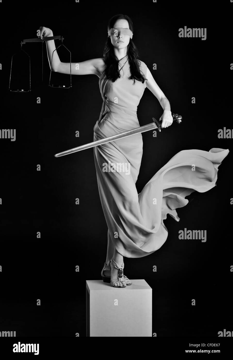 Statue of justice. Blind Woman with scale and sword. - Stock Image