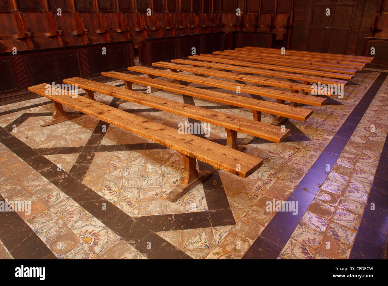 Wooden benches in the church of monastery Sa Cartoixa, La Cartuja, Valldemossa, Tramuntana mountains, Mallorca, - Stock Image