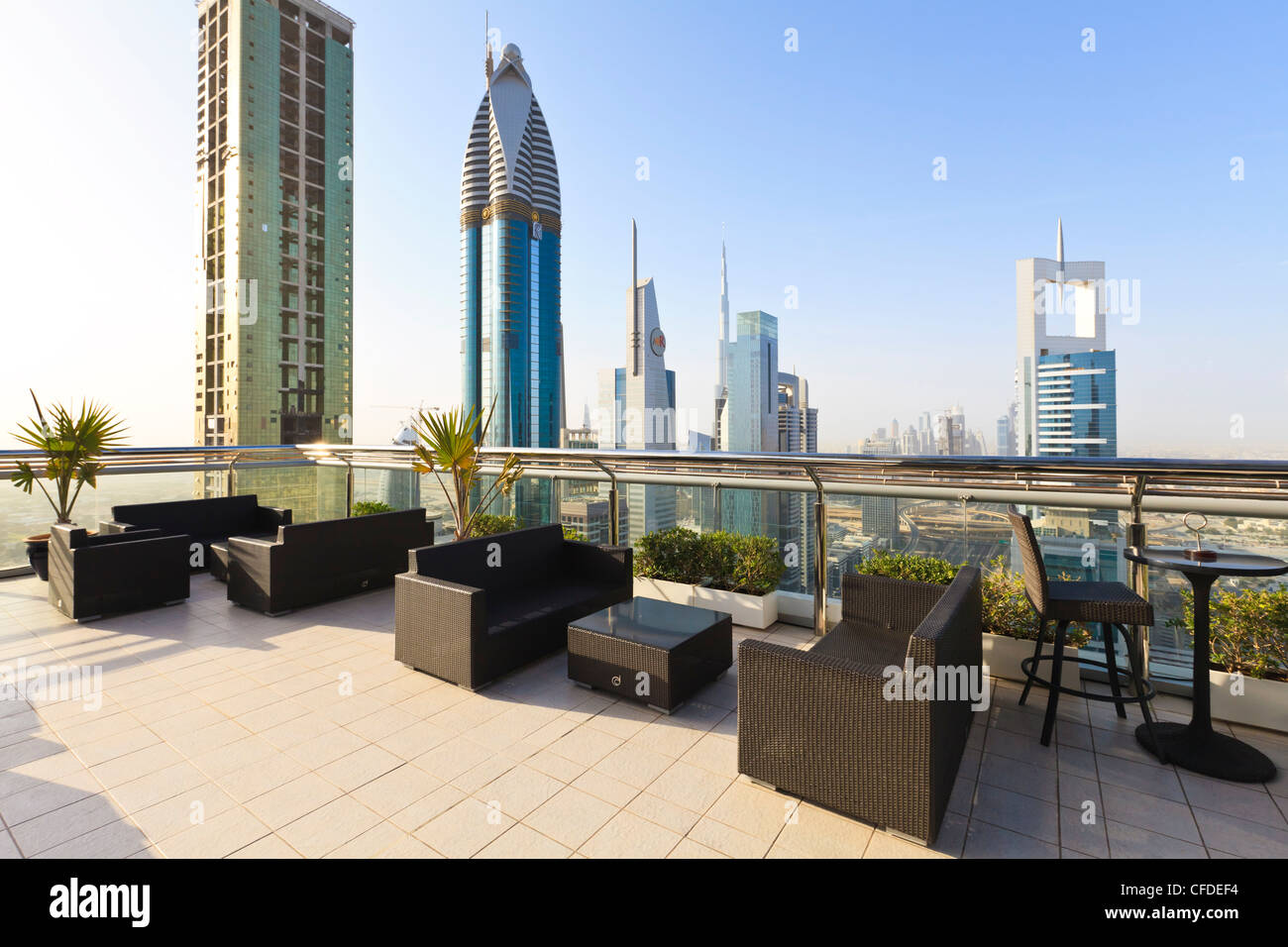 Cityscape seen from rooftop bar, Sheikh Zayed Road, Dubai, United Arab Emirates, Middle East - Stock Image