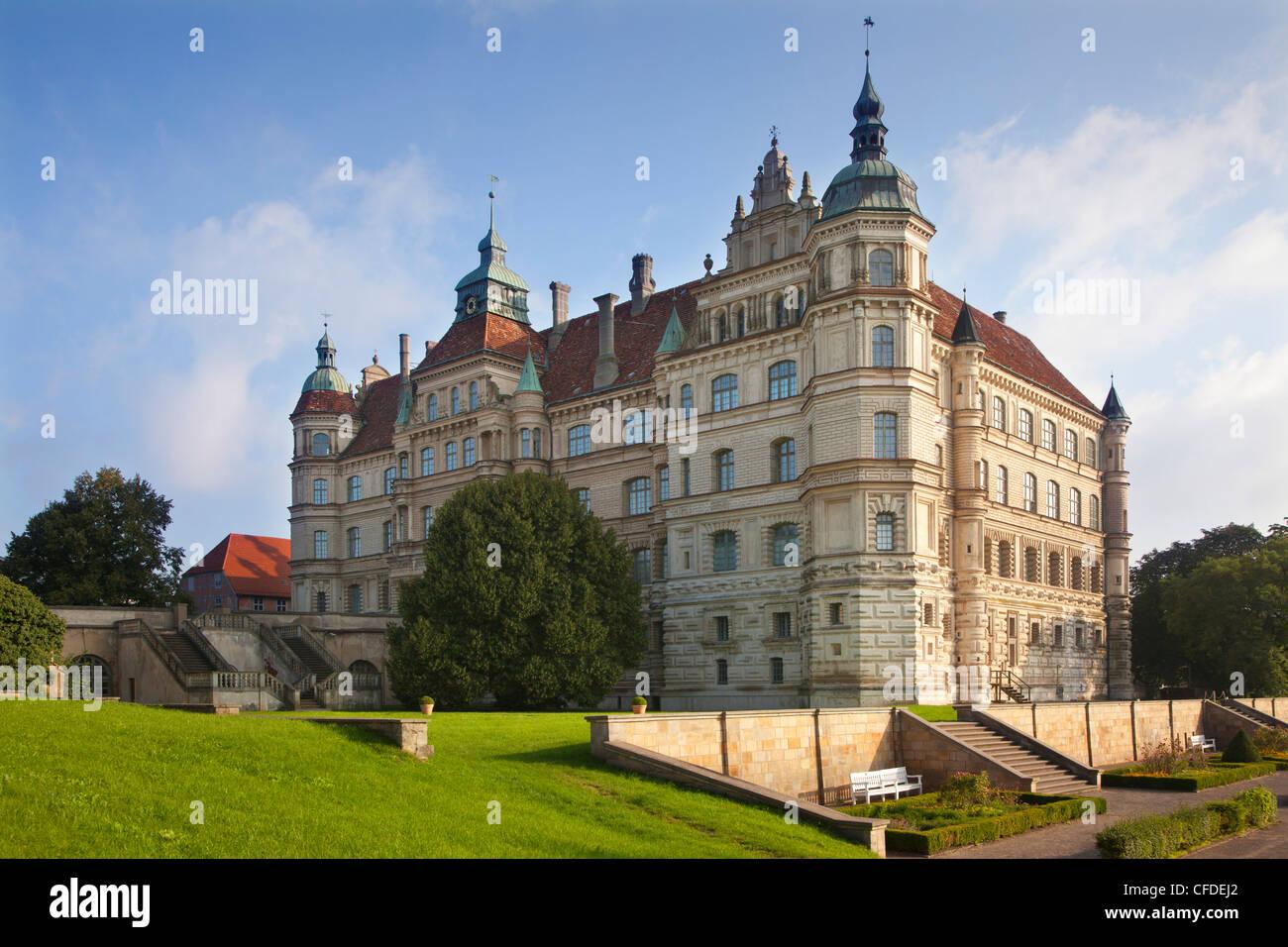 View of Renaissance castle, Guestrow, Mecklenburg switzerland, Mecklenburg Western-Pomerania, Germany, Europe - Stock Image