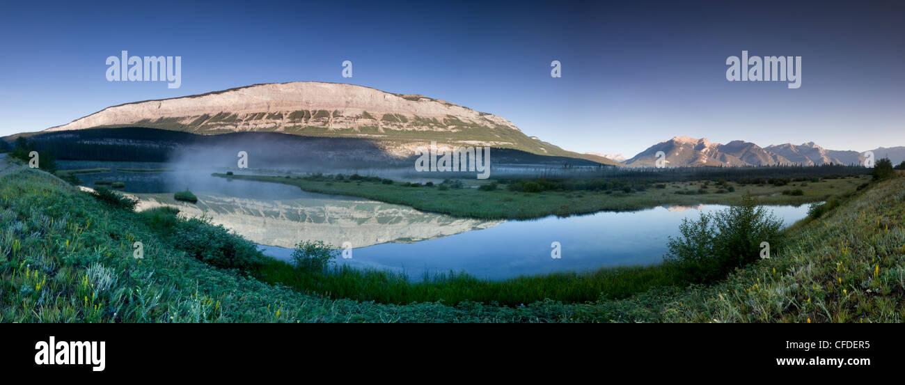 Digitally spliced panoramic of The Palisades in Jasper National Park, Alberta, Canada - Stock Image