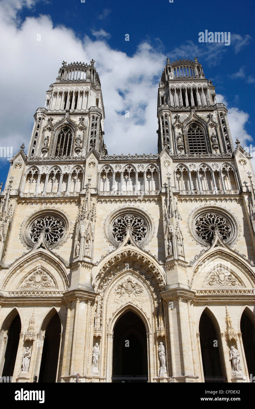 Western facade of Sainte-Croix (Holy Cross) cathedral, Orleans, Loiret, France, Europe - Stock Image