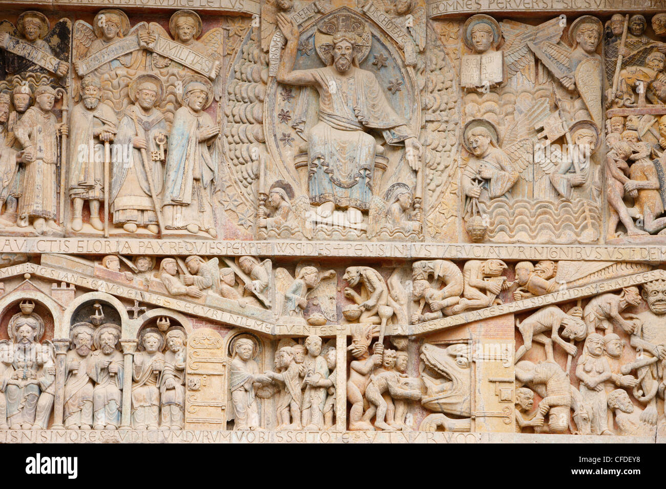 Tympanum showing Christ in Glory and the Last Judgment, Sainte Foy Abbey church, Conques, Aveyron, Massif Central, - Stock Image