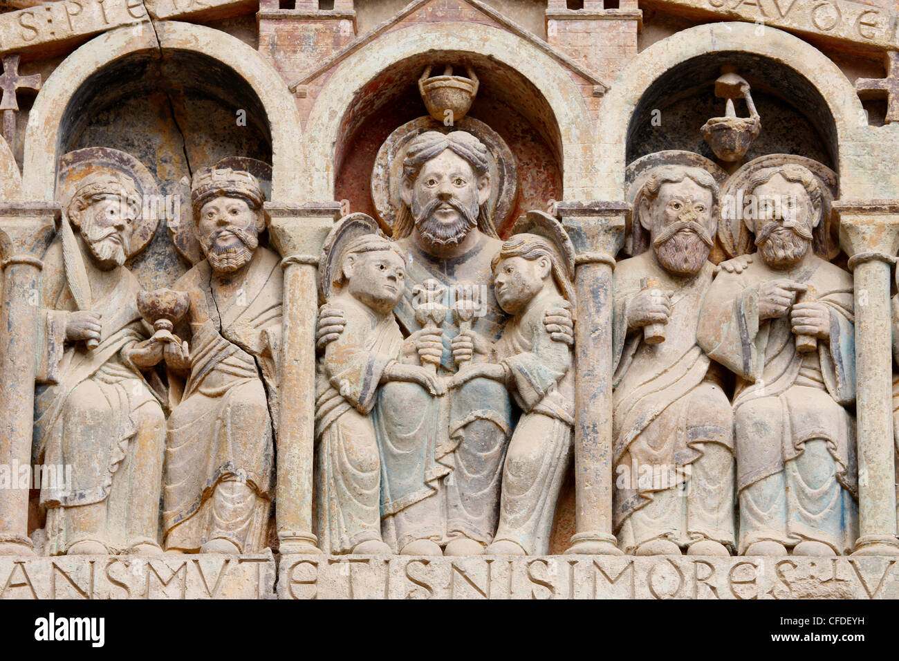 Tympanum showing Abraham, Sainte Foy Abbey church, Conques, Aveyron, Massif Central, France, Europe - Stock Image