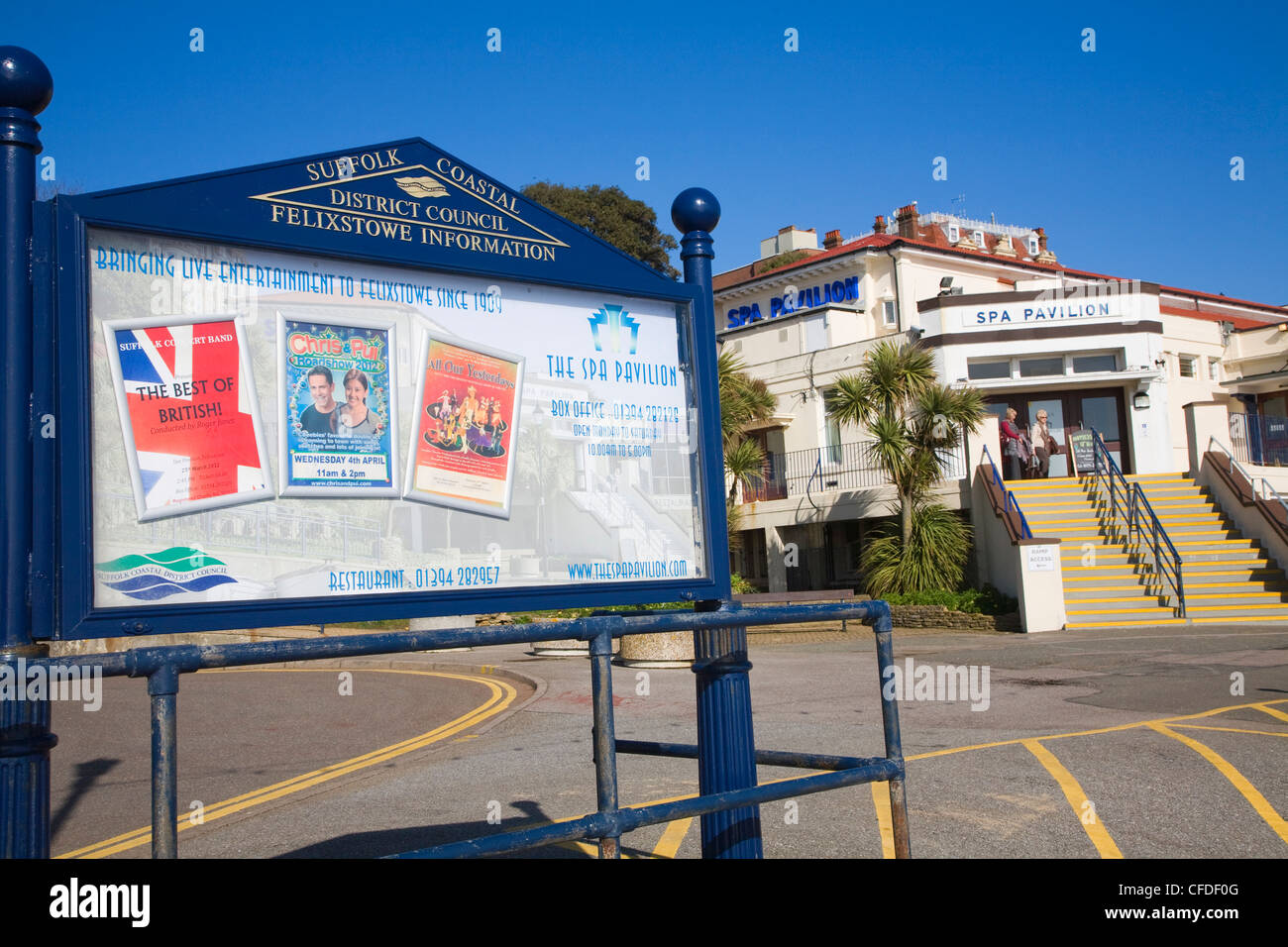 Tourist information noticeboard Spa Pavilion, Felixstowe, Suffolk, England - Stock Image