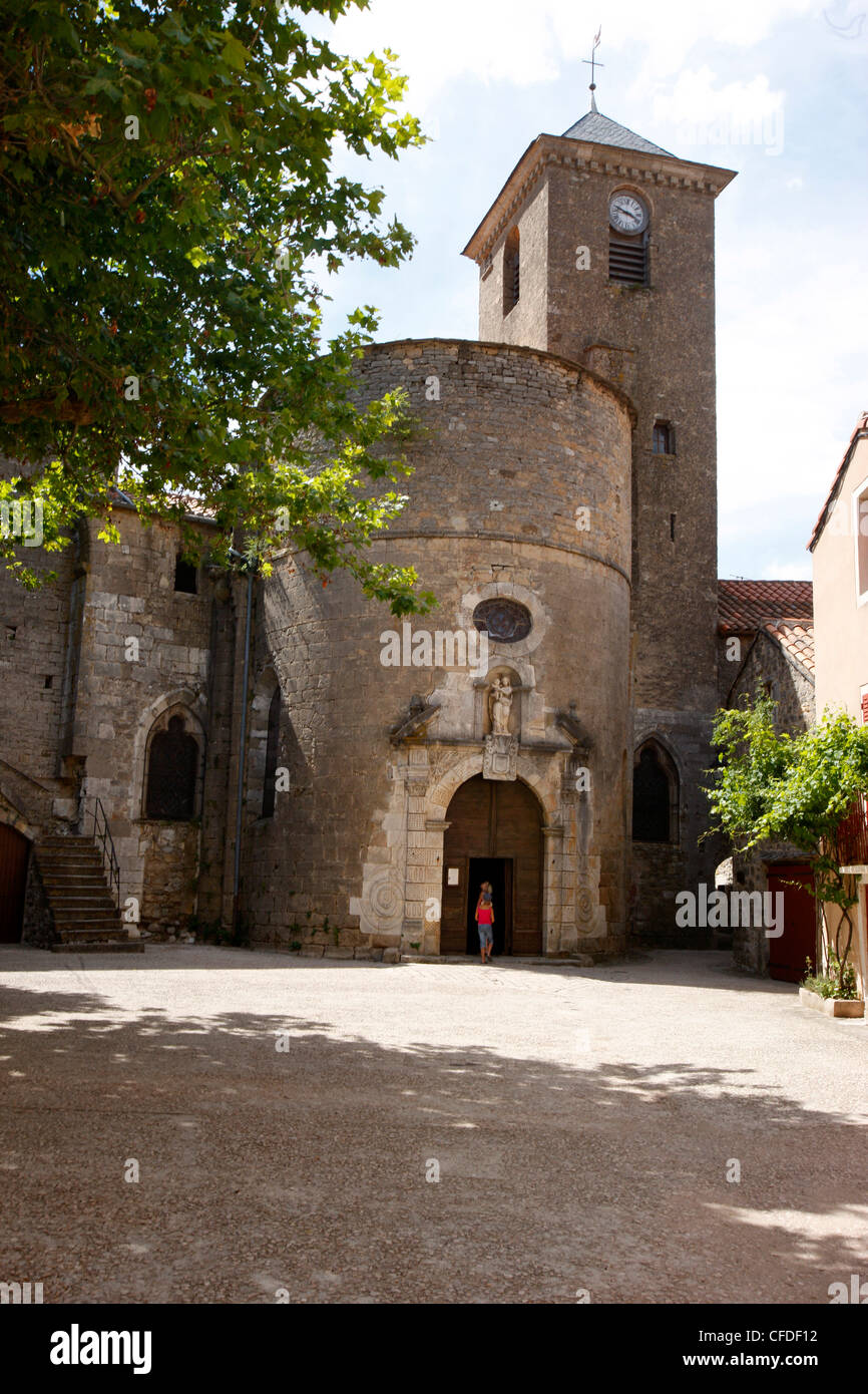Sainte-Eulalie de Cernon Templars' church, Sainte-Eulalie-de-Cernon, Aveyron, Massif Central, France, Europe - Stock Image
