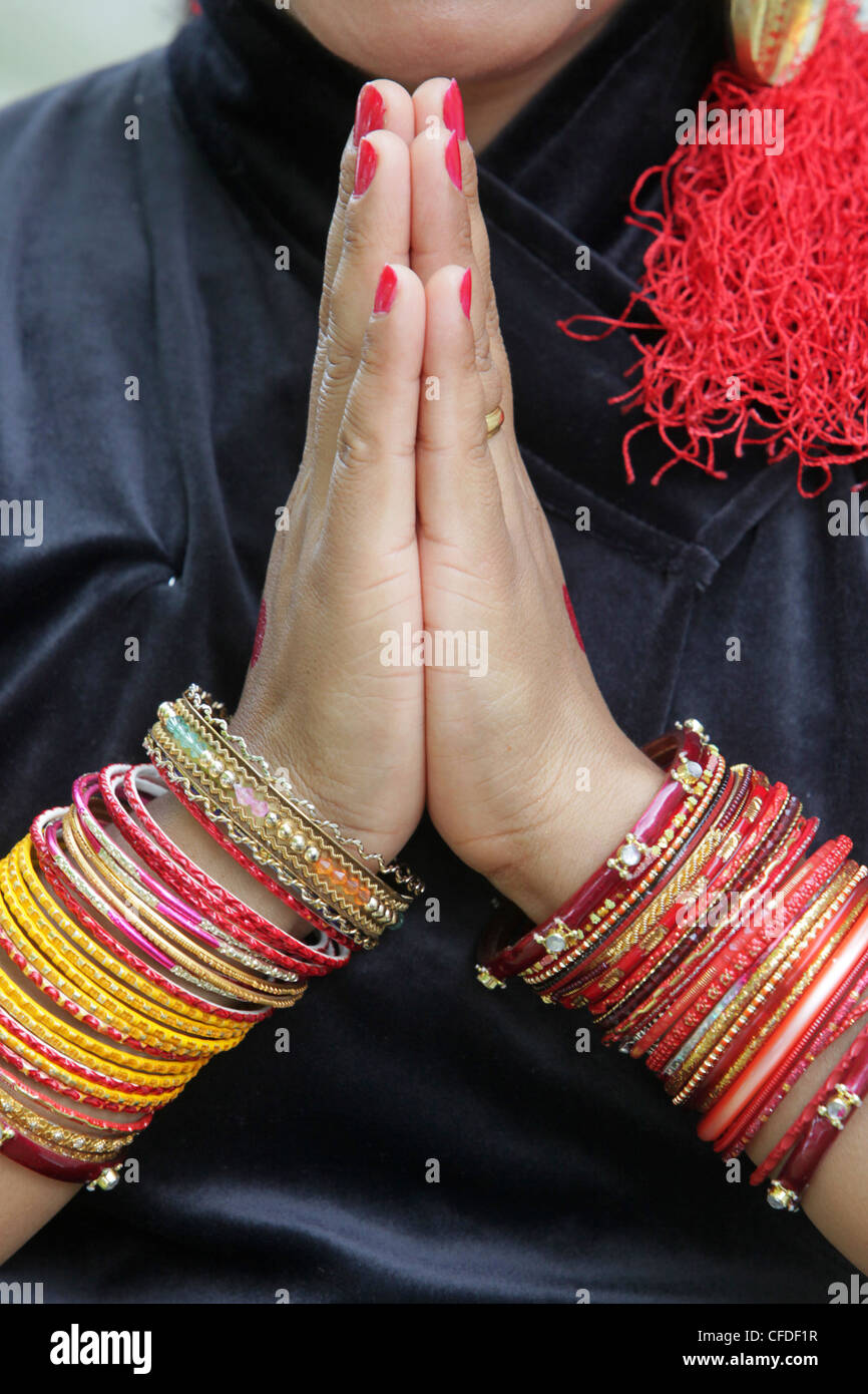Tibetan dancer's bangles, Paris, France, Europe - Stock Image