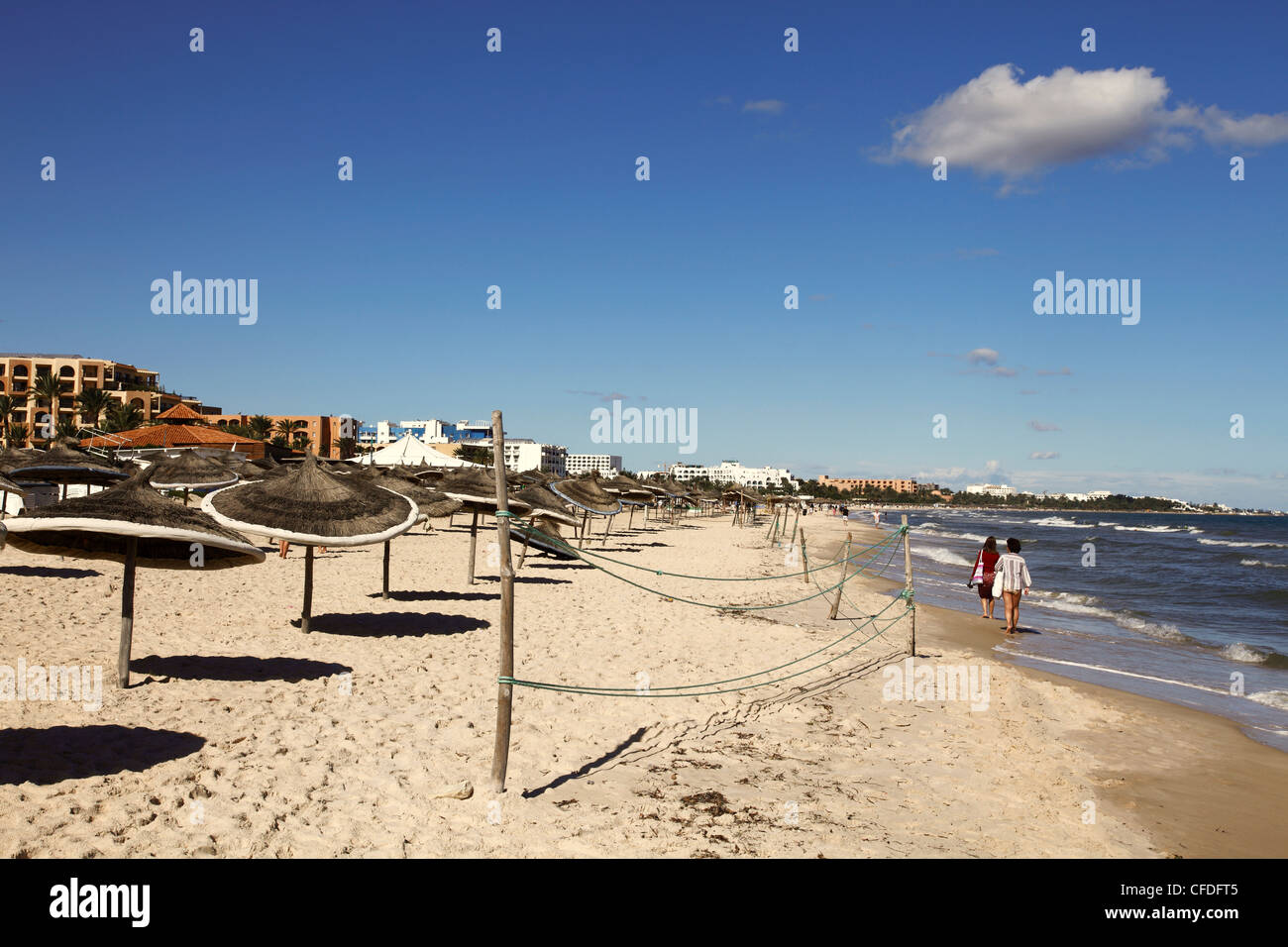 Beach scene in the tourist zone on the Mediterranean Sea, Sousse, Gulf of Hammamet, Tunisia, North Africa, Africa Stock Photo