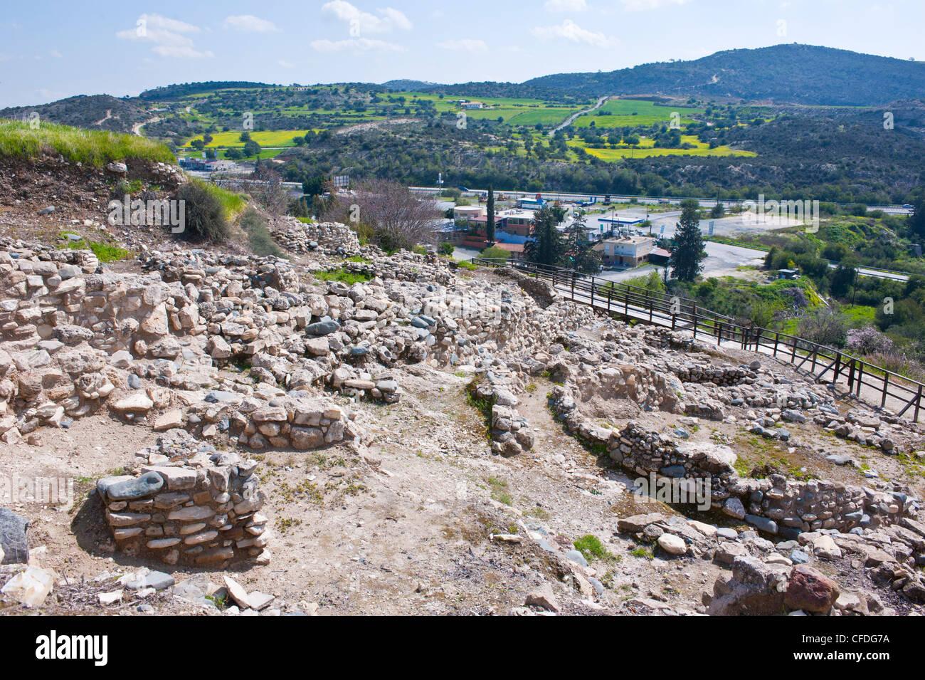 Neolithic excavations of Choirokoitia, UNESCO World Heritage Site, Cyprus, Europe Stock Photo