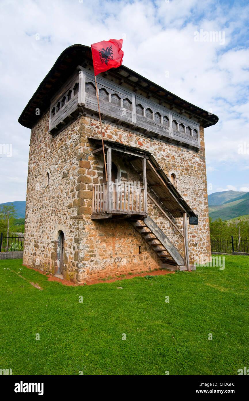 Fortified tower near Bayram Curri, Albania, Europe - Stock Image