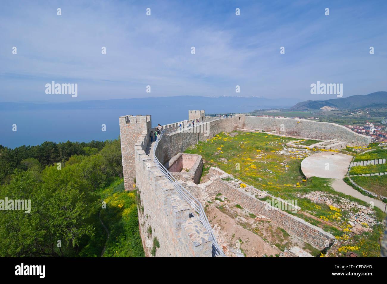 Castle, Ohrid at Lake Ohrid, UNESCO World Heritage Site, Macedonia, Europe Stock Photo
