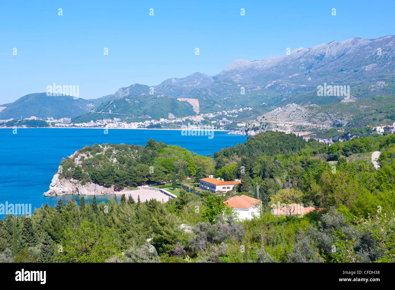 View of the coast from Sveti Stefan, seaside resort in western Montenegro, Europe - Stock Image