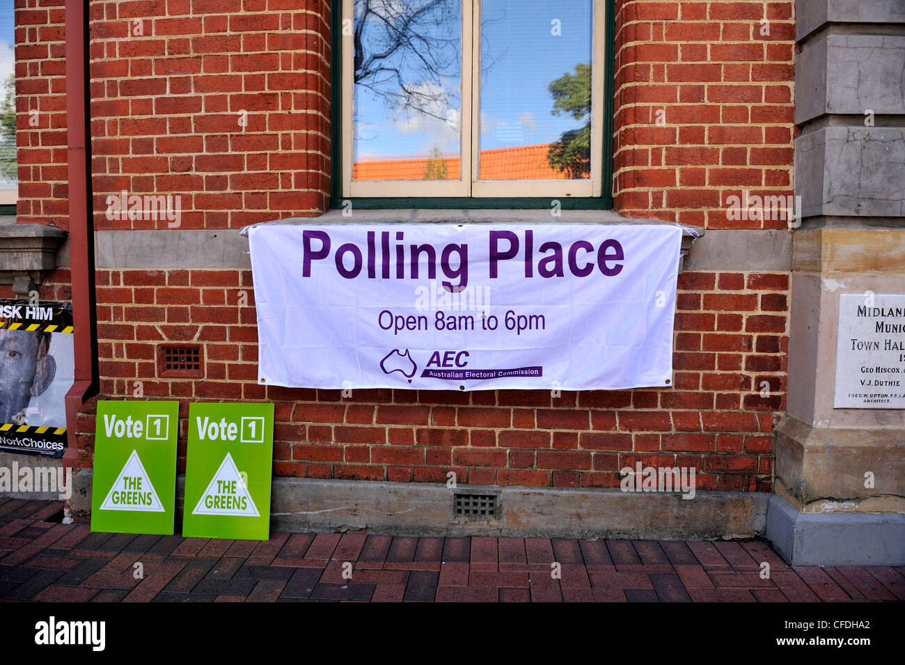 Polling Place banner, Australian Federal Election. - Stock Image