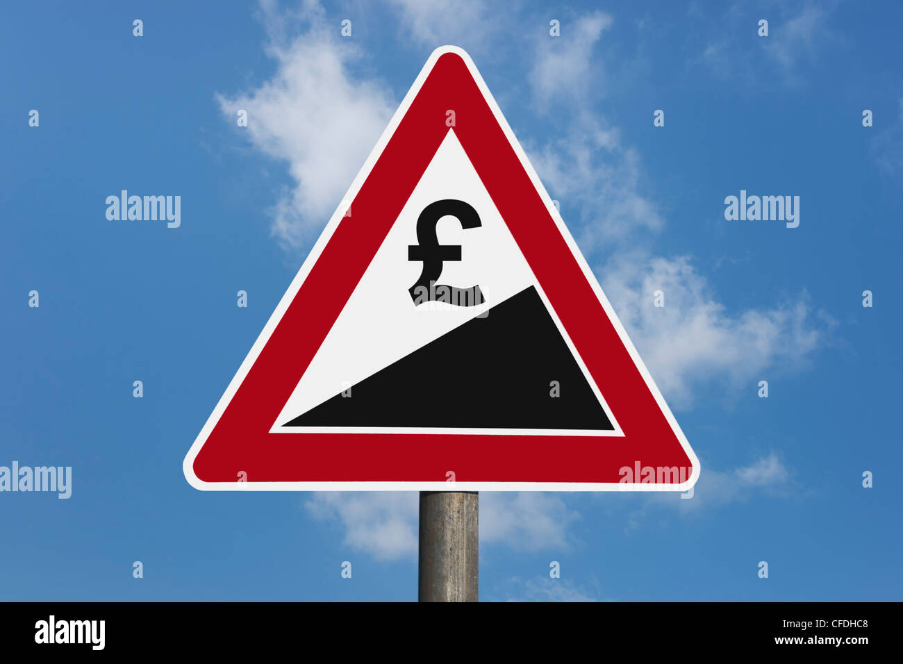 Detail photo of a danger sign 'Upward gradient' with a Pound currency sign, background sky. - Stock Image